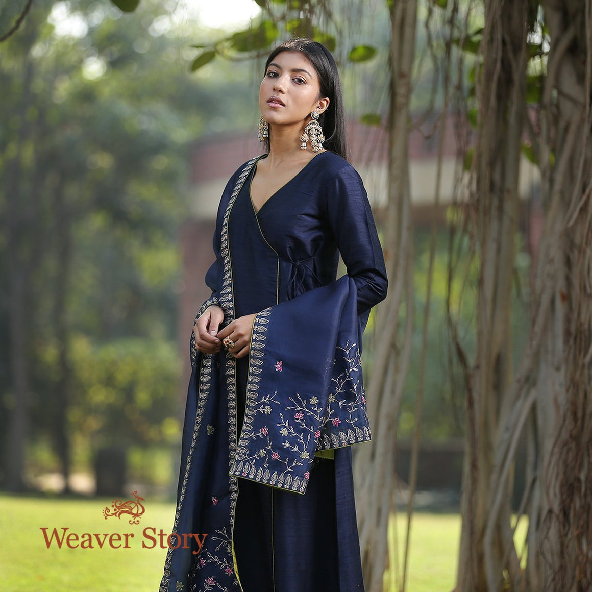 Dark Blue Raw Silk Kurta With Olive Green Pants and Zardosi Work Dupatta