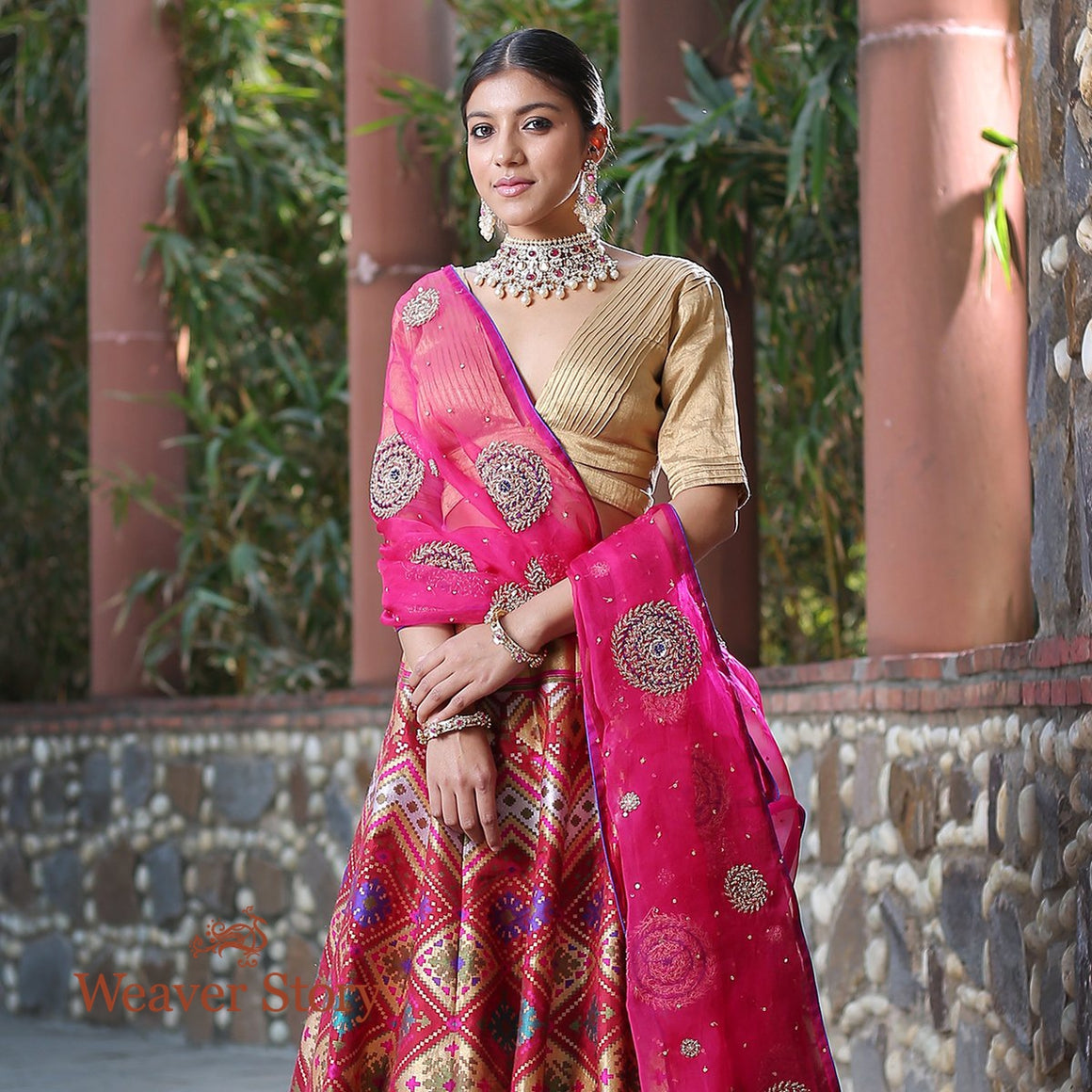 Handwoven Banarasi Lehenga in Maroon with Patola Inspired Weave