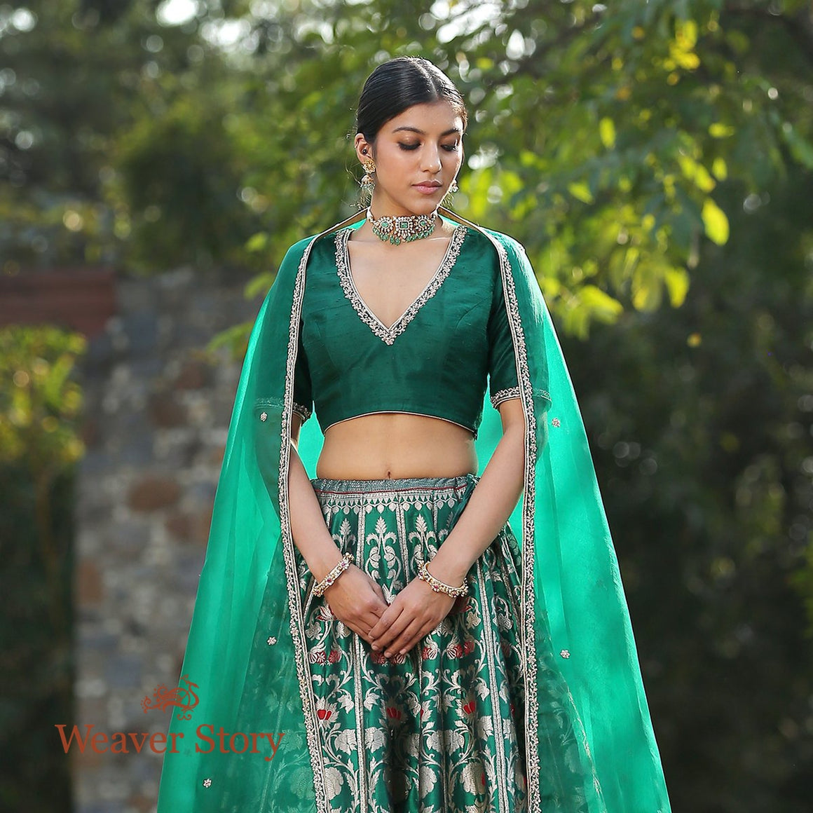 Handwoven Emerald Green Banarasi Lehenga with Red Meenakari