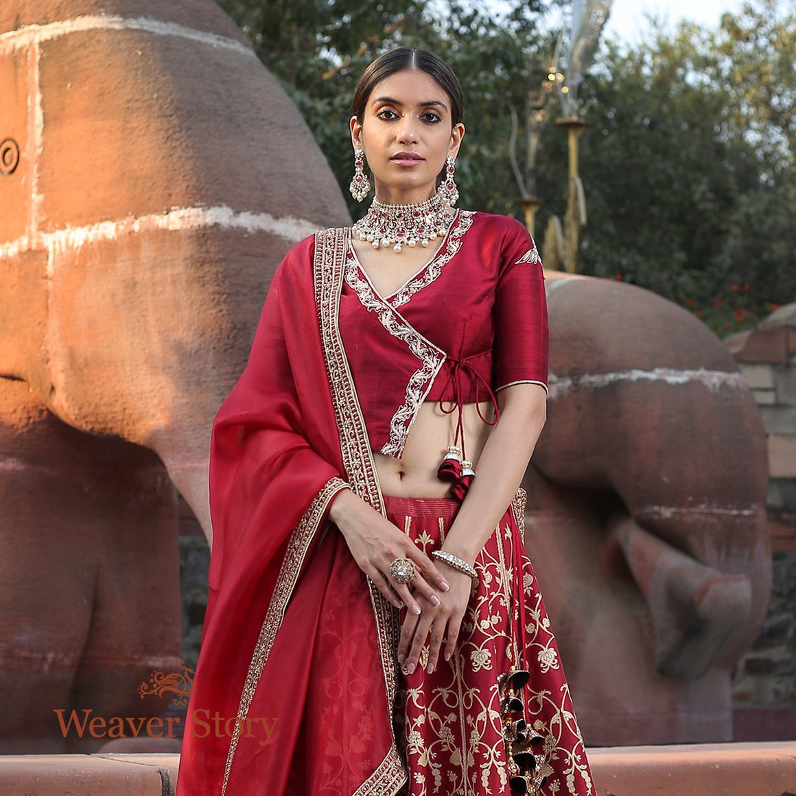 Handwoven Banarasi Lehenga in Regal Maroon with Zardozi Embroidered Blouse and Dupatta