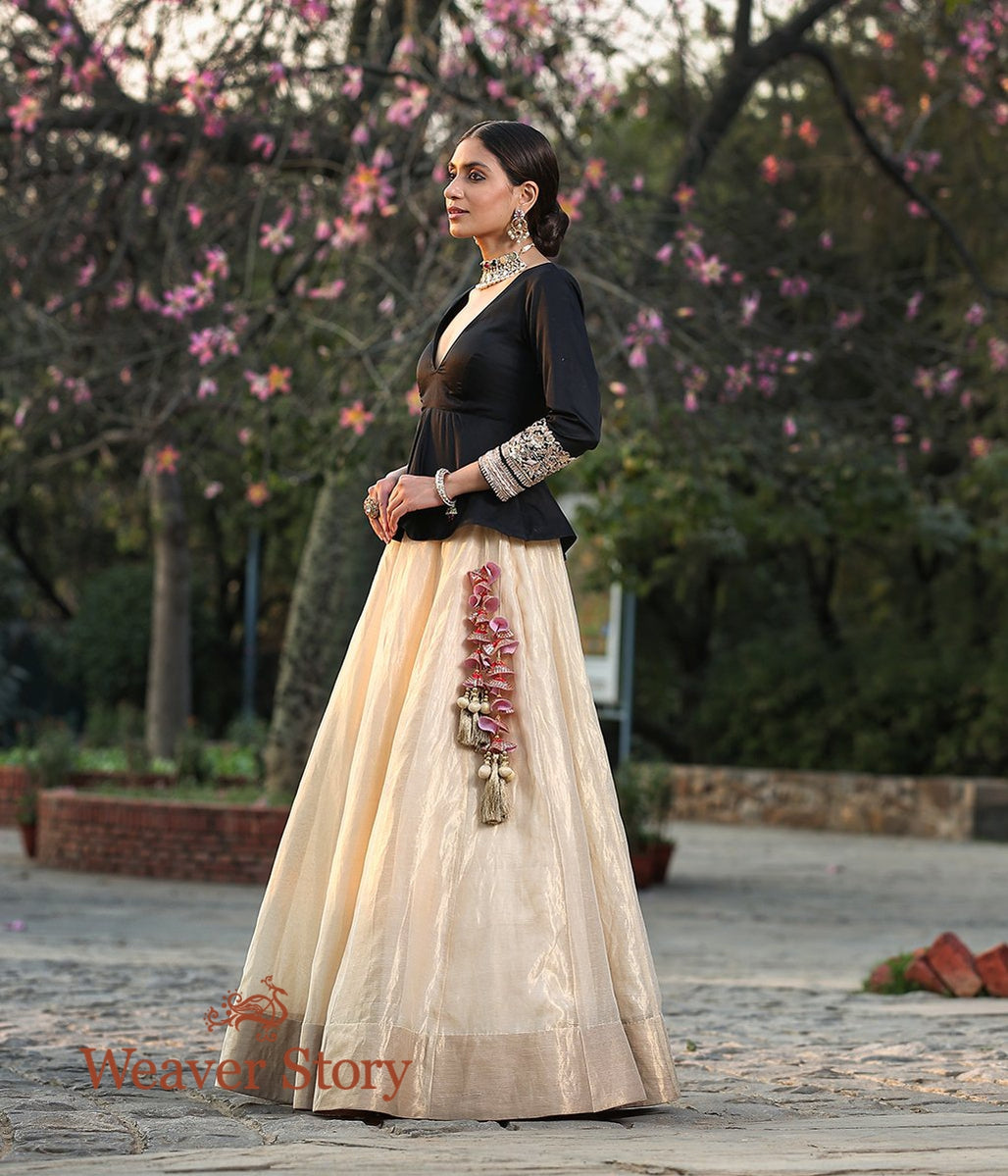 Gold Silk Tissue Lehenga with Trendy Hand Embroidered Peplum