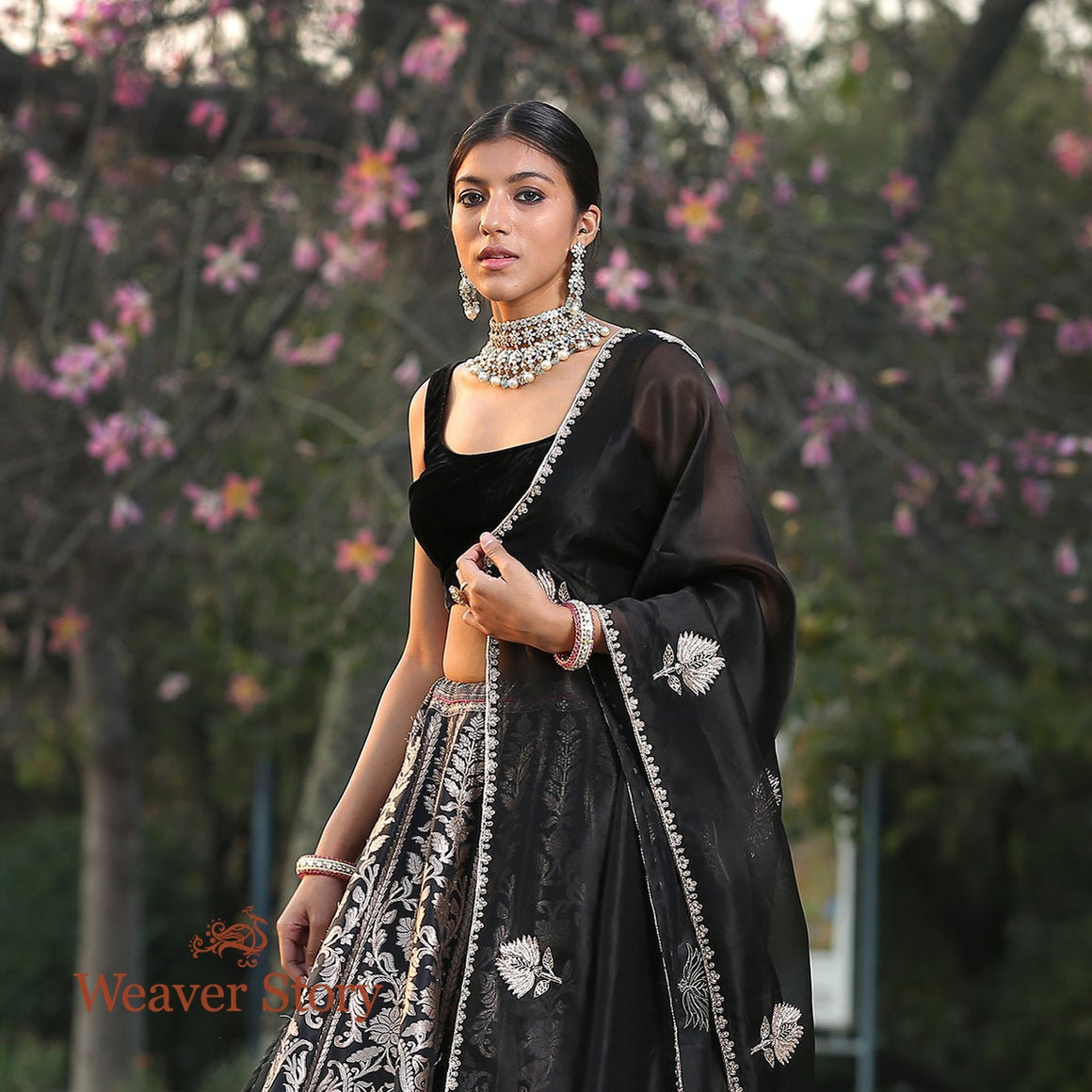 Handwoven Black Banarasi Lehenga with Velvet Blouse and Silk Organza Dupatta