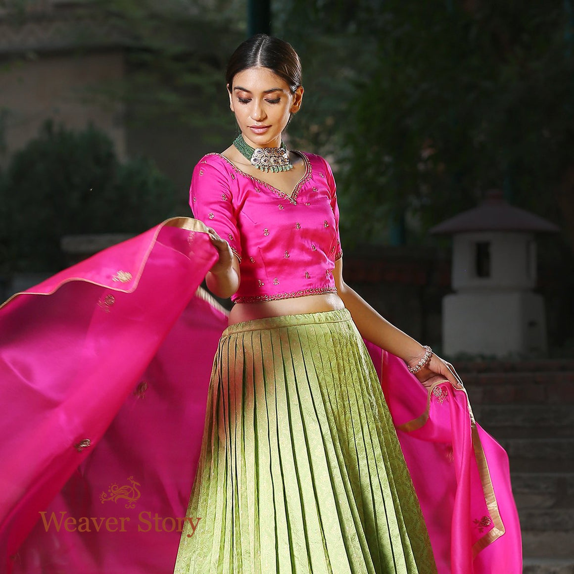 Handwoven Kanjivaram Pleated Lehenga with Satin Blouse and Organza Dupatta