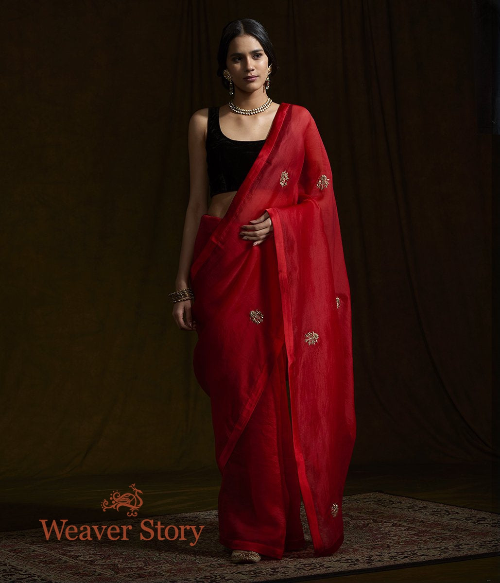 Red Organza Silk Saree with Zardozi Work