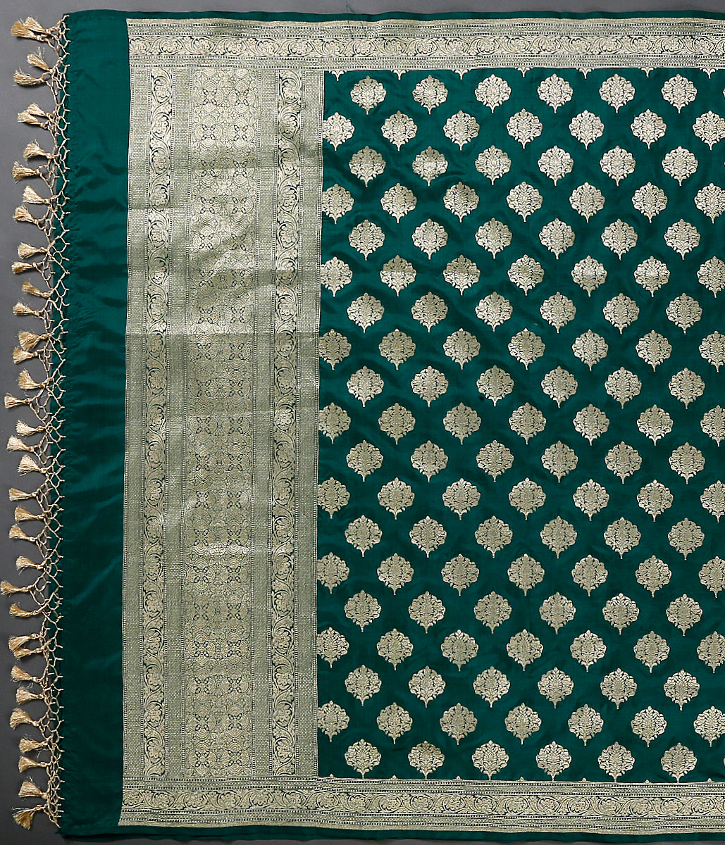 Green katan silk dupatta with leaf motifs