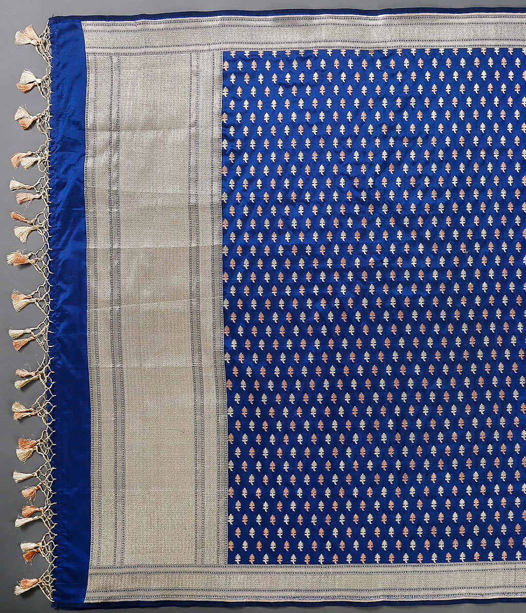 Blue katan silk dupatta with leaf motifs woven in gold and copper tone zari