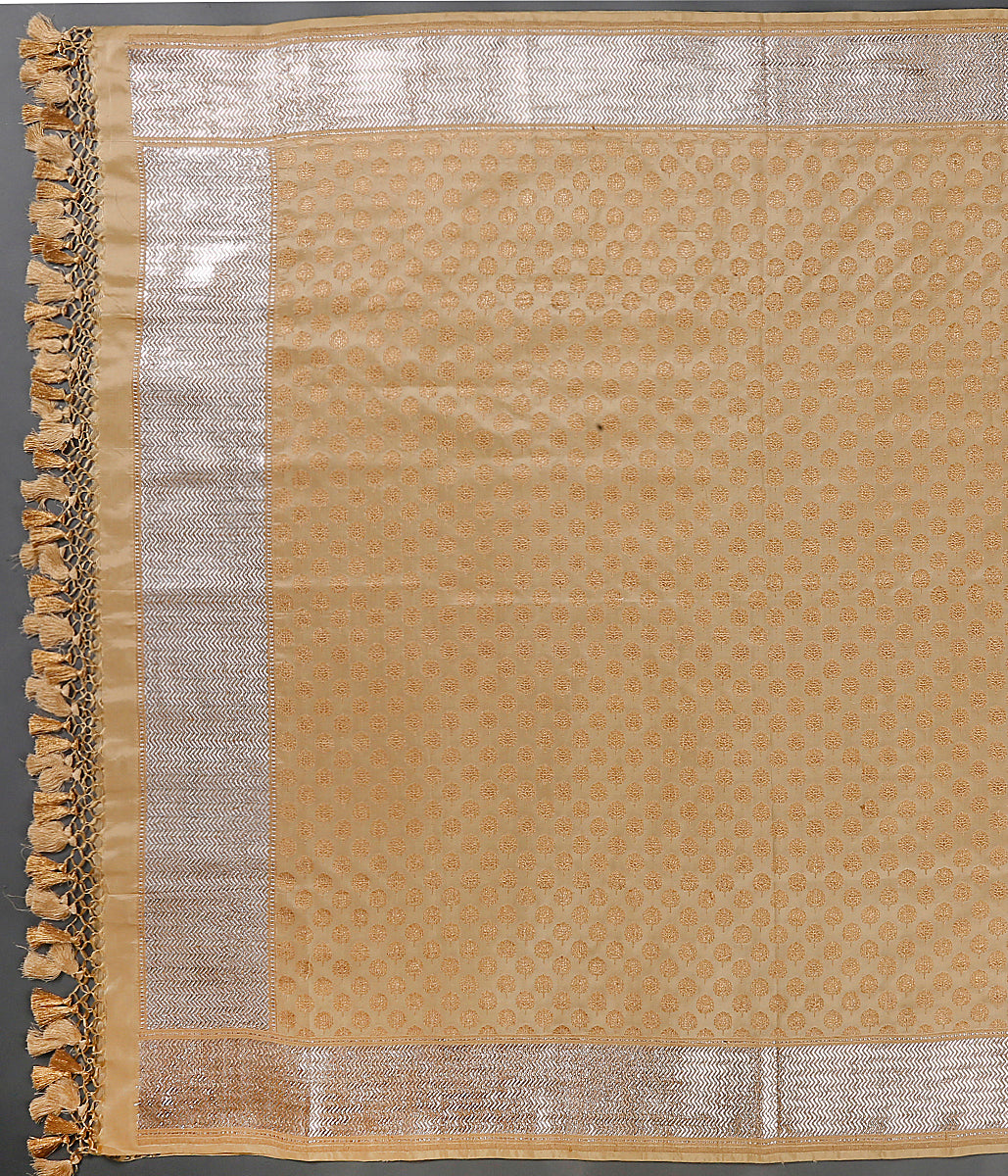 Beige and gold katan silk dupatta with traditional booti