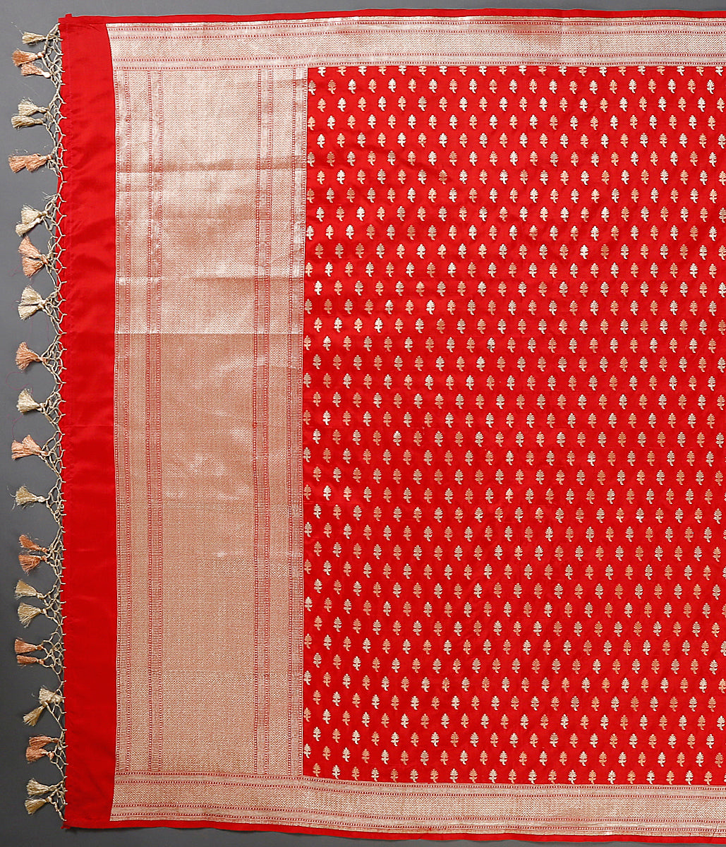 Red katan silk dupatta with leaf motifs woven in gold and copper tone zari