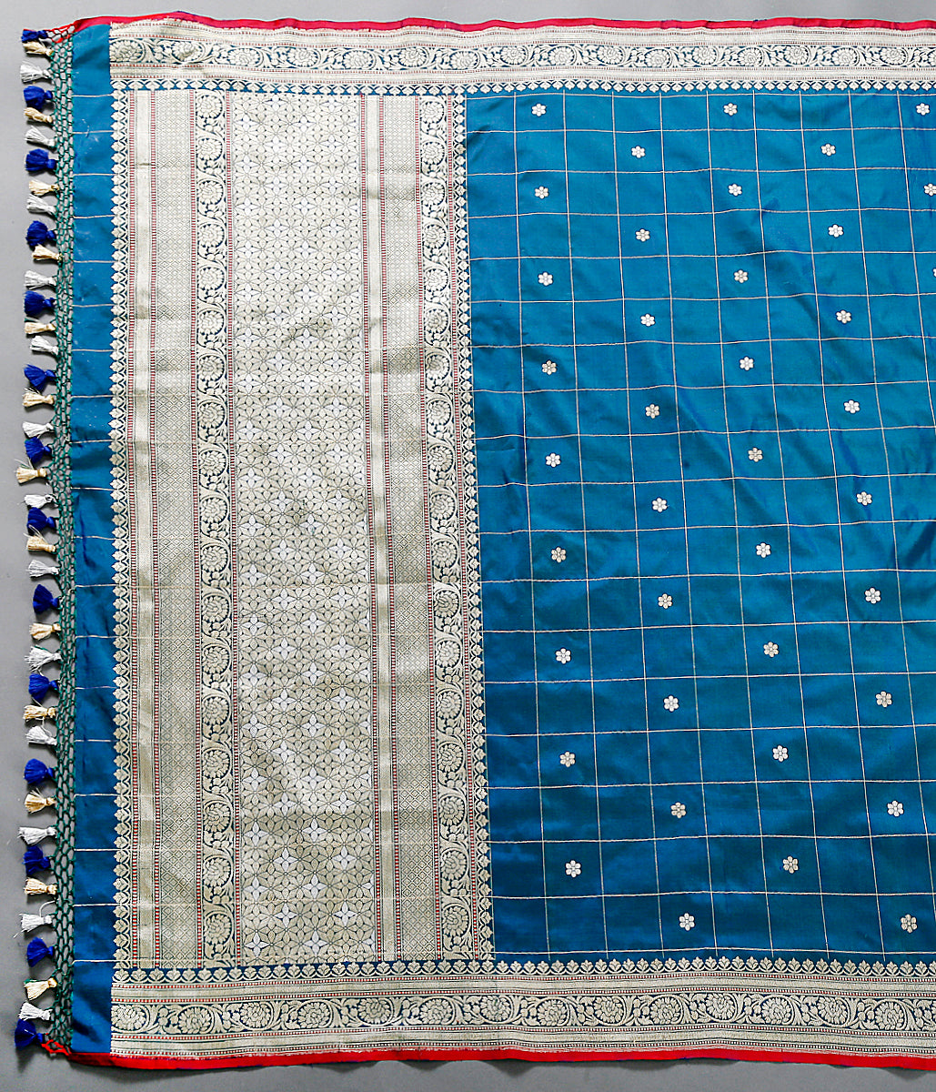 Blue katan silk dupatta with kadhwa booti and checks
