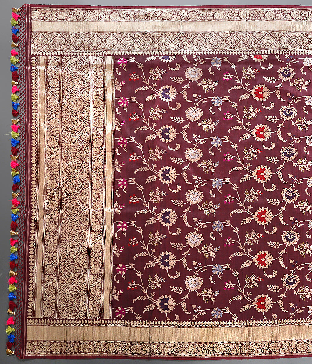 Brown Kadhwa Jangla dupatta woven in fine tusser silk