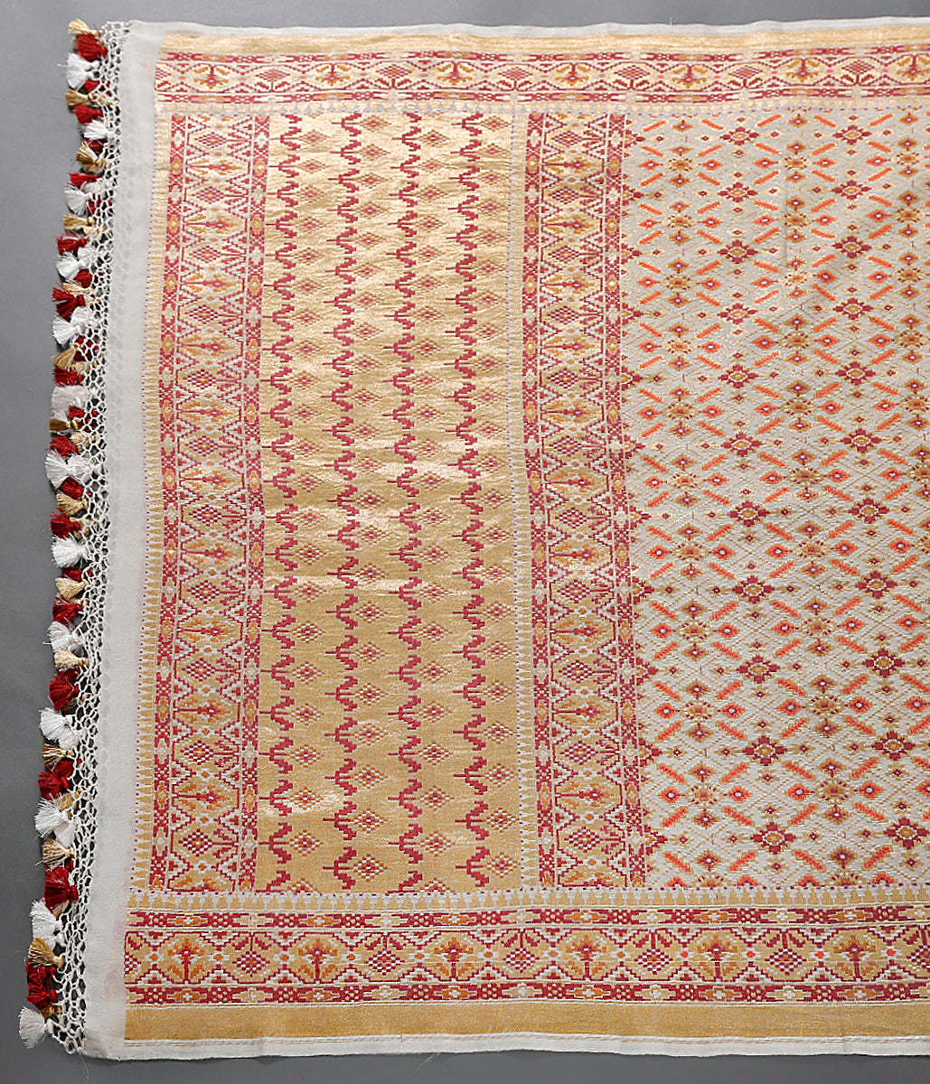 Handwoven banarasi patola dupatta woven in tusser with georgette