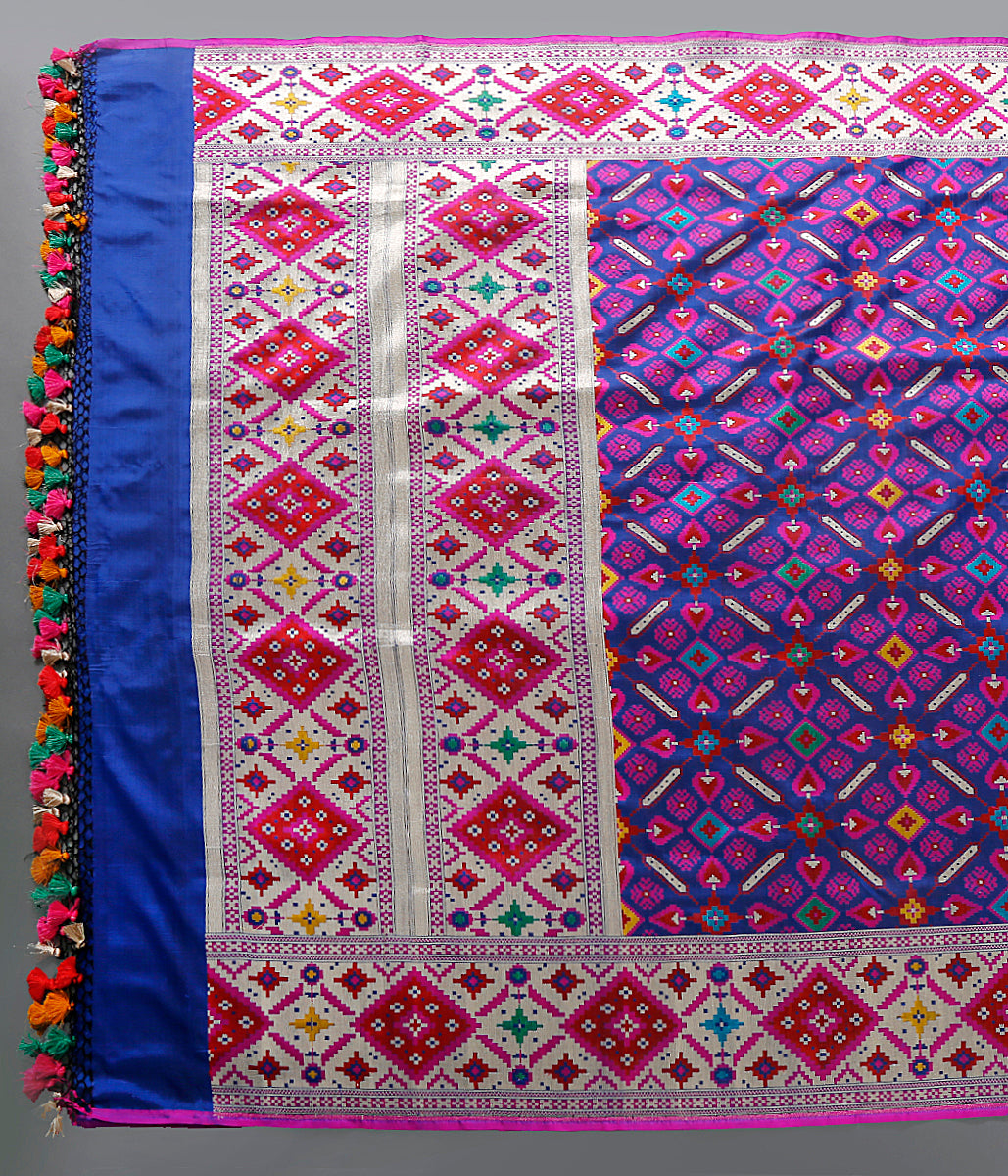 Handwoven Blue Banarasi Patola dupatta with meenakari and rich meenakari borders