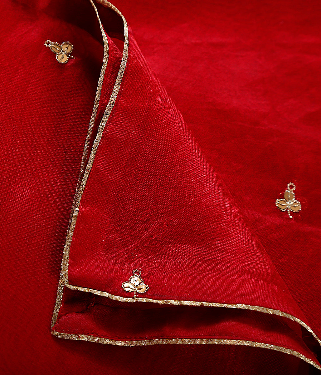 Handwoven organza dupatta in red with zardozi hand embroidered motifs