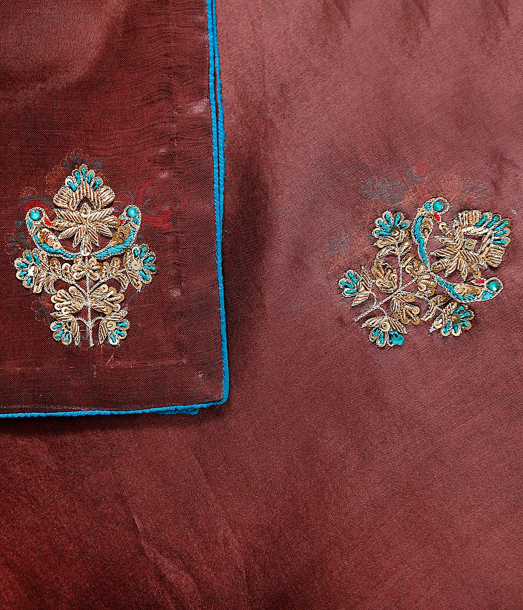 Handwoven organza dupatta in Chocolate brown with hand embroidered motifs