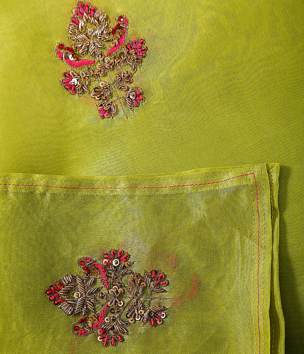Handwoven organza dupatta in parrot green with zardozi hand embroidered motifs
