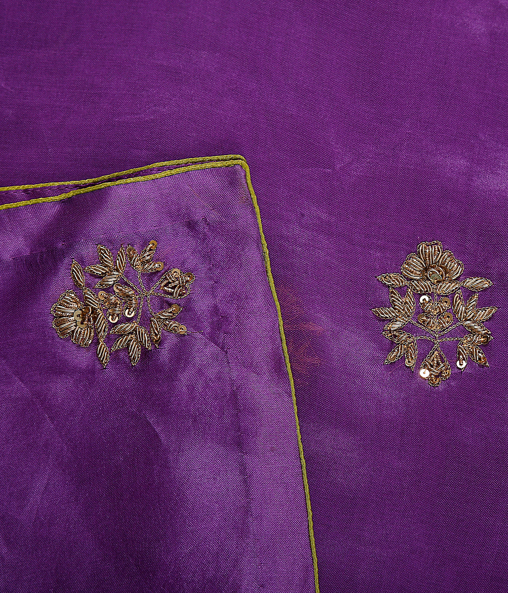 Handwoven organza dupatta in Purple with zardozi