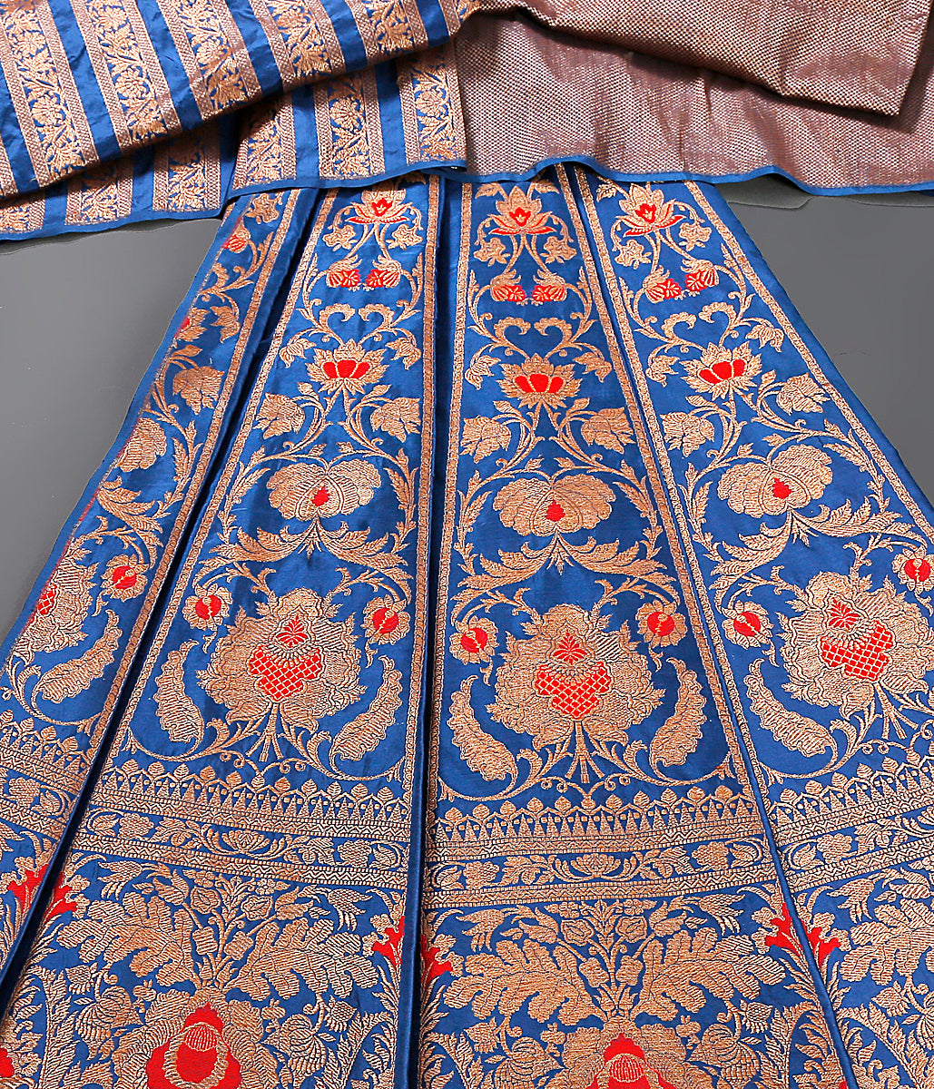Royal Blue Kadhwa Banarasi Lehenga with meenakari
