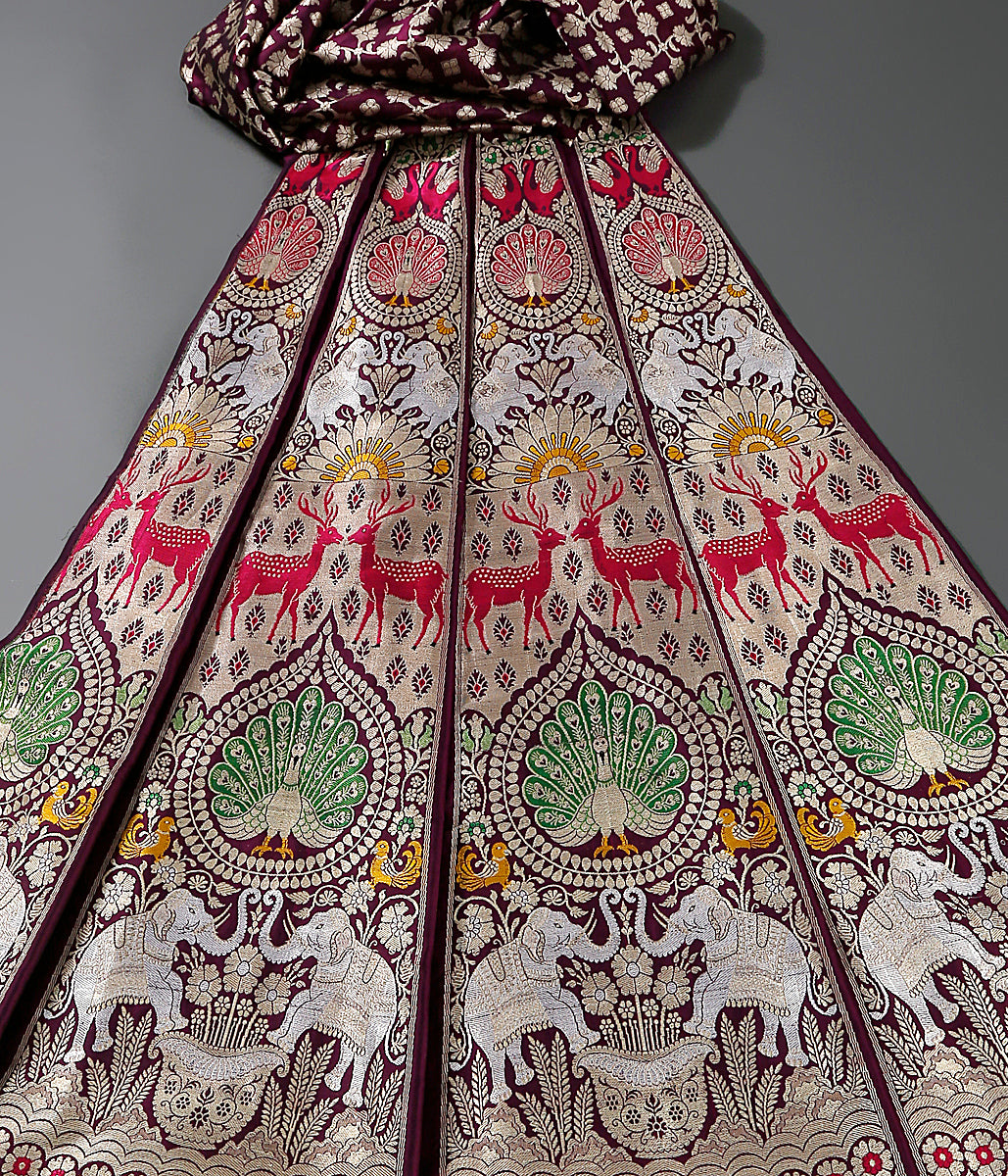 Handwoven Banarasi Shikargah Lehenga in wine color