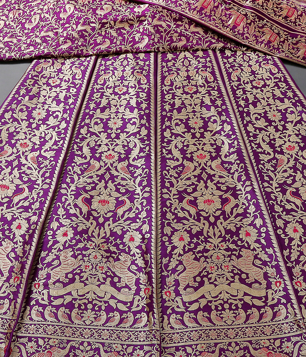 Handwoven kadhwa Banarasi Shikargah Lehenga in purple color