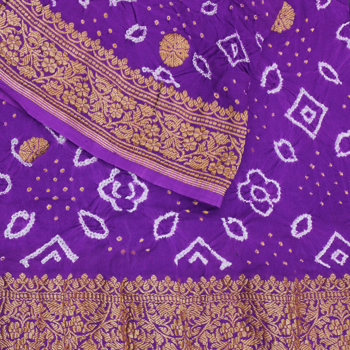 Handwoven Banarasi Bandhej Dupatta in purple with kadhwa booti