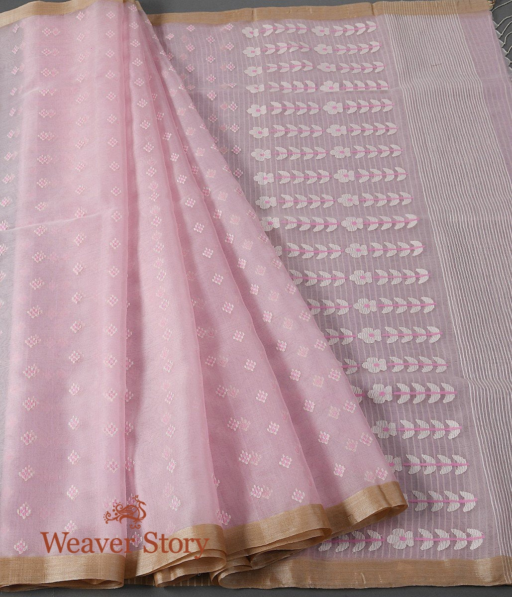 Handwoven Light Pink Dhakai Jamdani Saree with White Booti
