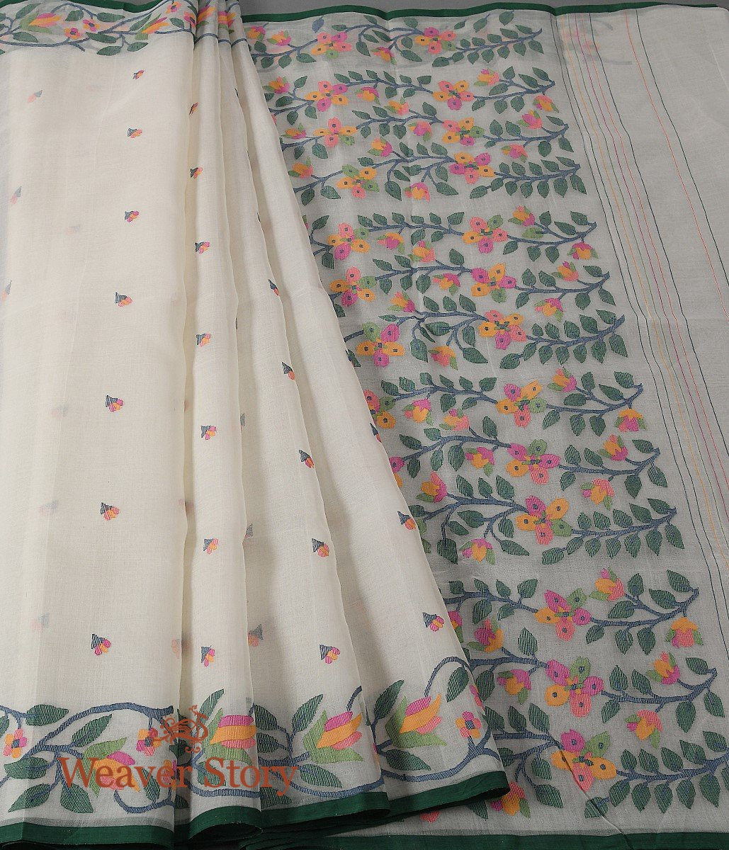 Handwoven Offwhite Muslin Dhakai Jamdani Saree with Floral Border and Pallu