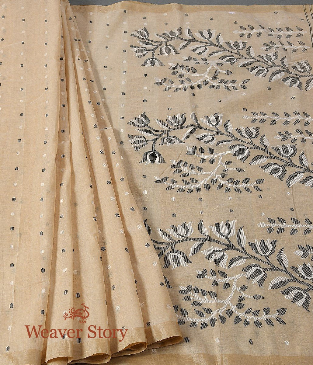 Handwoven Beige Dhakai Jamdani Saree with Black Floral Jaal