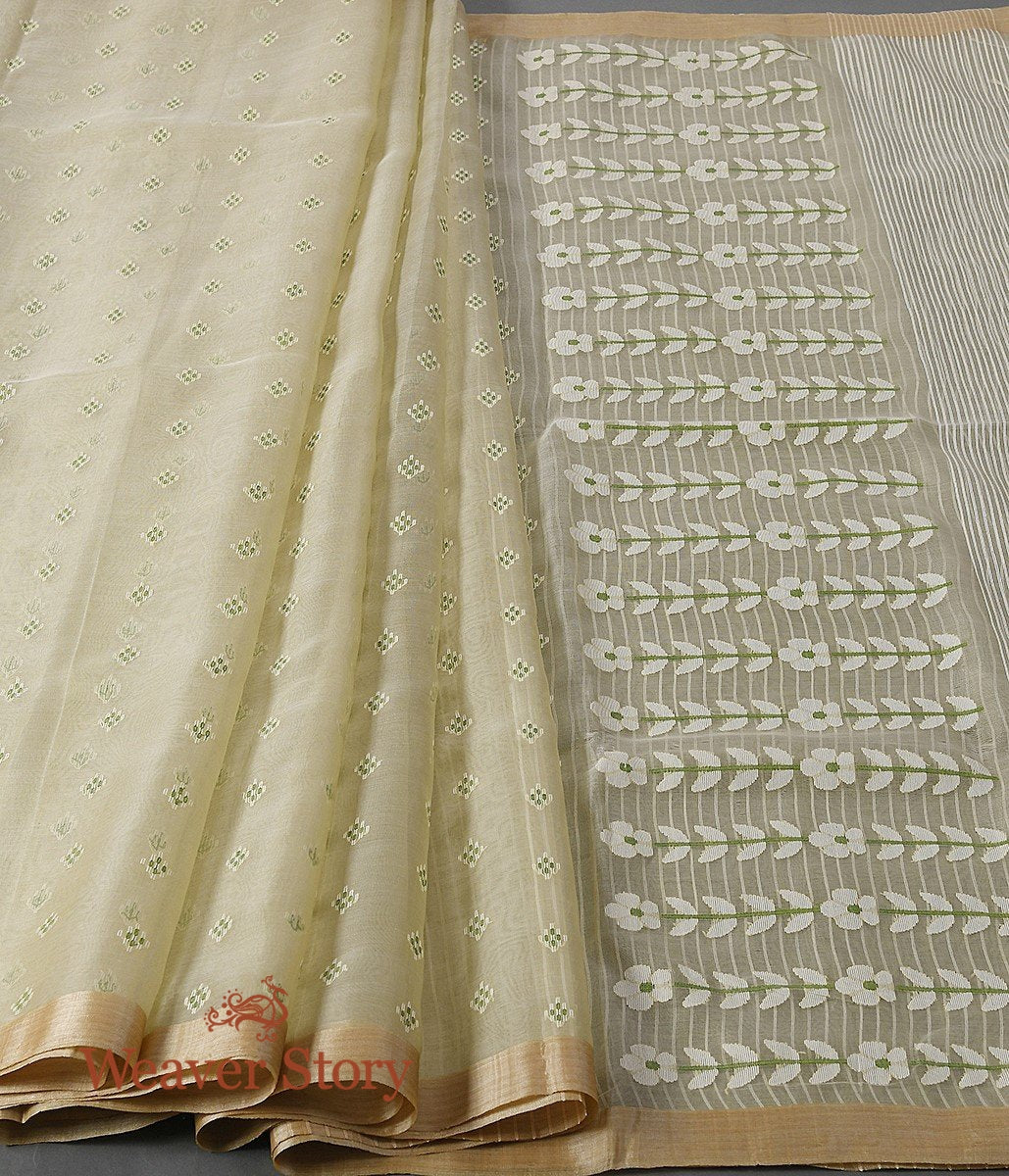 Handwoven Pistachio Green Dhakai Jamdani Saree with White Booti