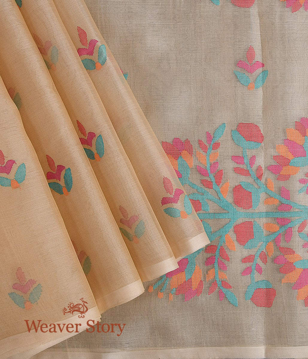 Handwoven Beige Dhakai Jamdani Saree in Fine Muslin with Multicolor Floral Pallu