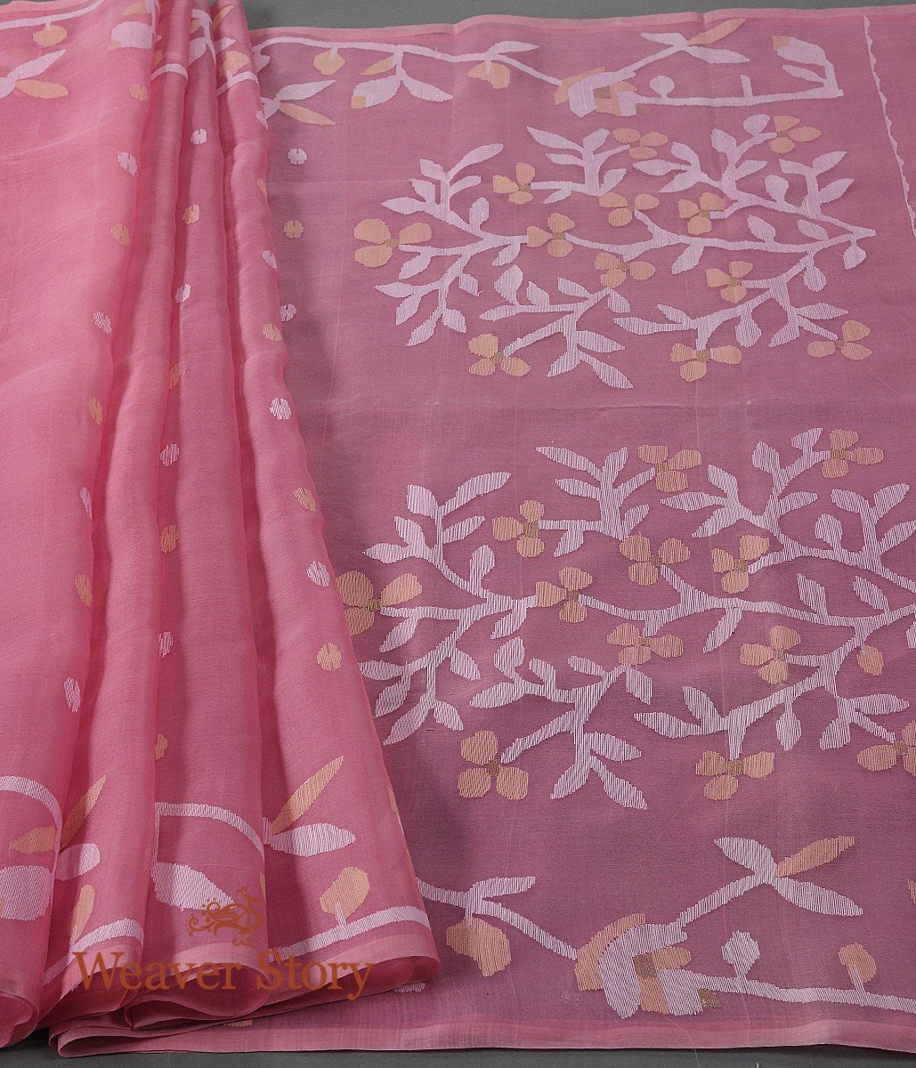 Handwoven Strawberry Pink Dhakai Jamdani Saree with White Booti and Heavy Pallu