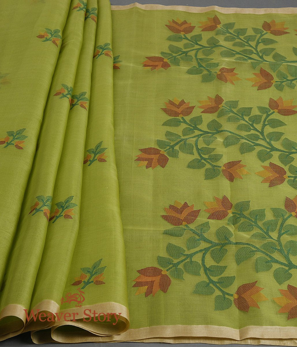 Handwoven Leaf Green Dhakai Jamdani Saree with Multicolor Floral Booti and Pallu