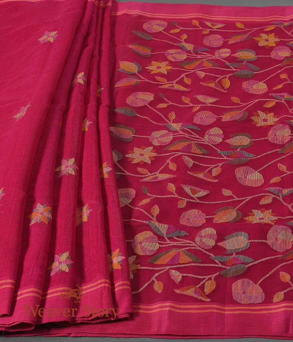 Handwoven Pink Matka Silk Saree with Muslin Pallu in Jamdani Weave