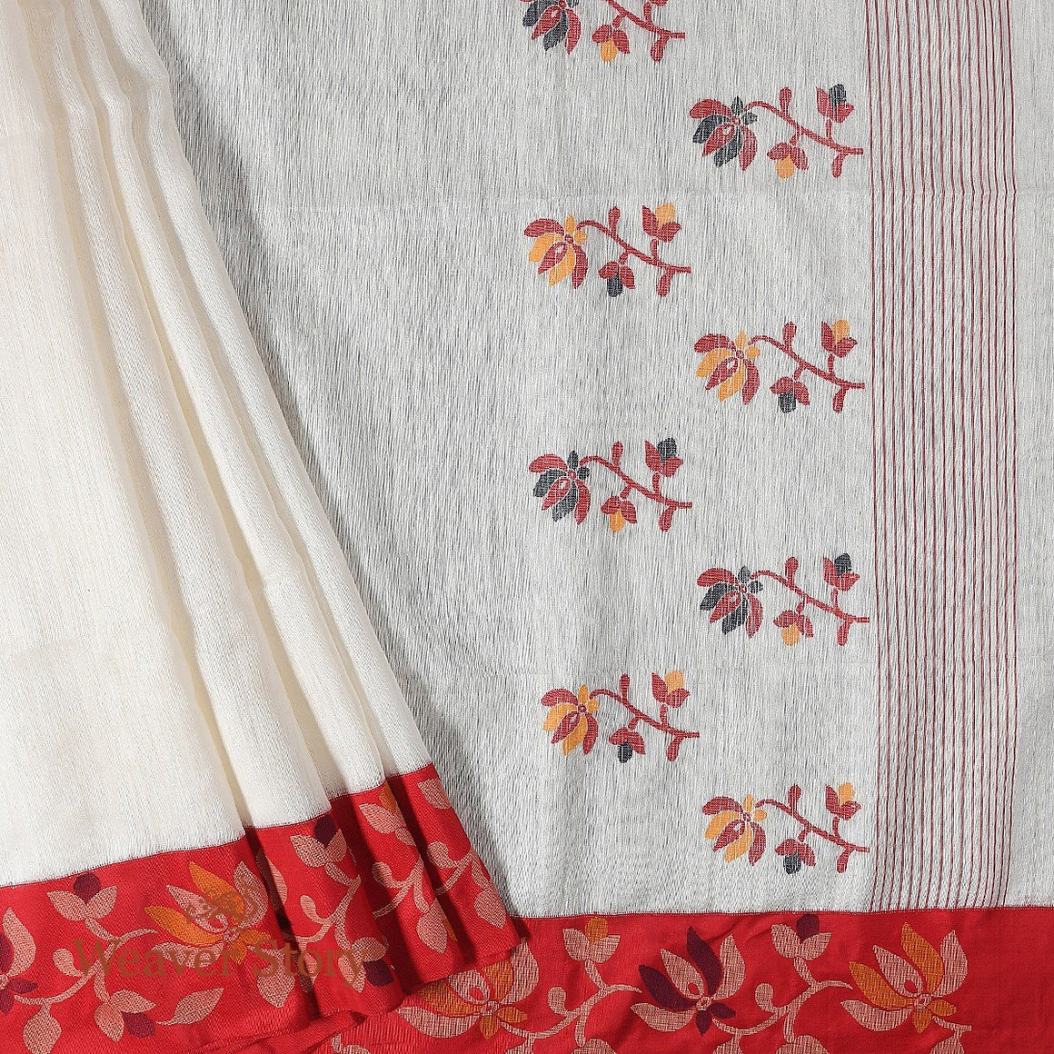 Handwoven Offwhite and Red Matka Silk Saree with Pure Silk Borders and Jamdani Weave