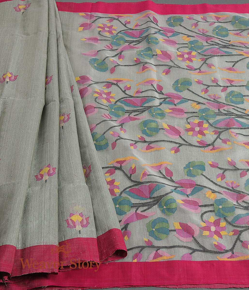 Handwoven Grey Matka Silk Saree with Muslin Jamdani Pallu