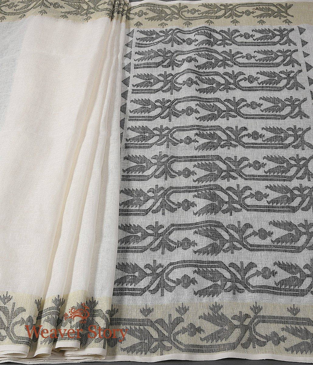 Hand Woven Linen Jamdani Saree in OffWhite and Black