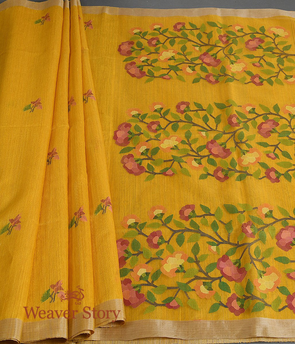 Handwoven Mustard Matka Silk Saree with Jamdani Weave
