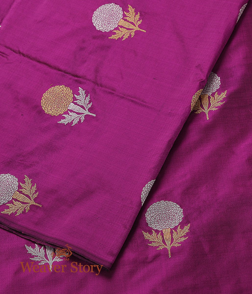 Handwoven Wine Katan Silk Fabric with Kadhwa Booti in gold and silver zari