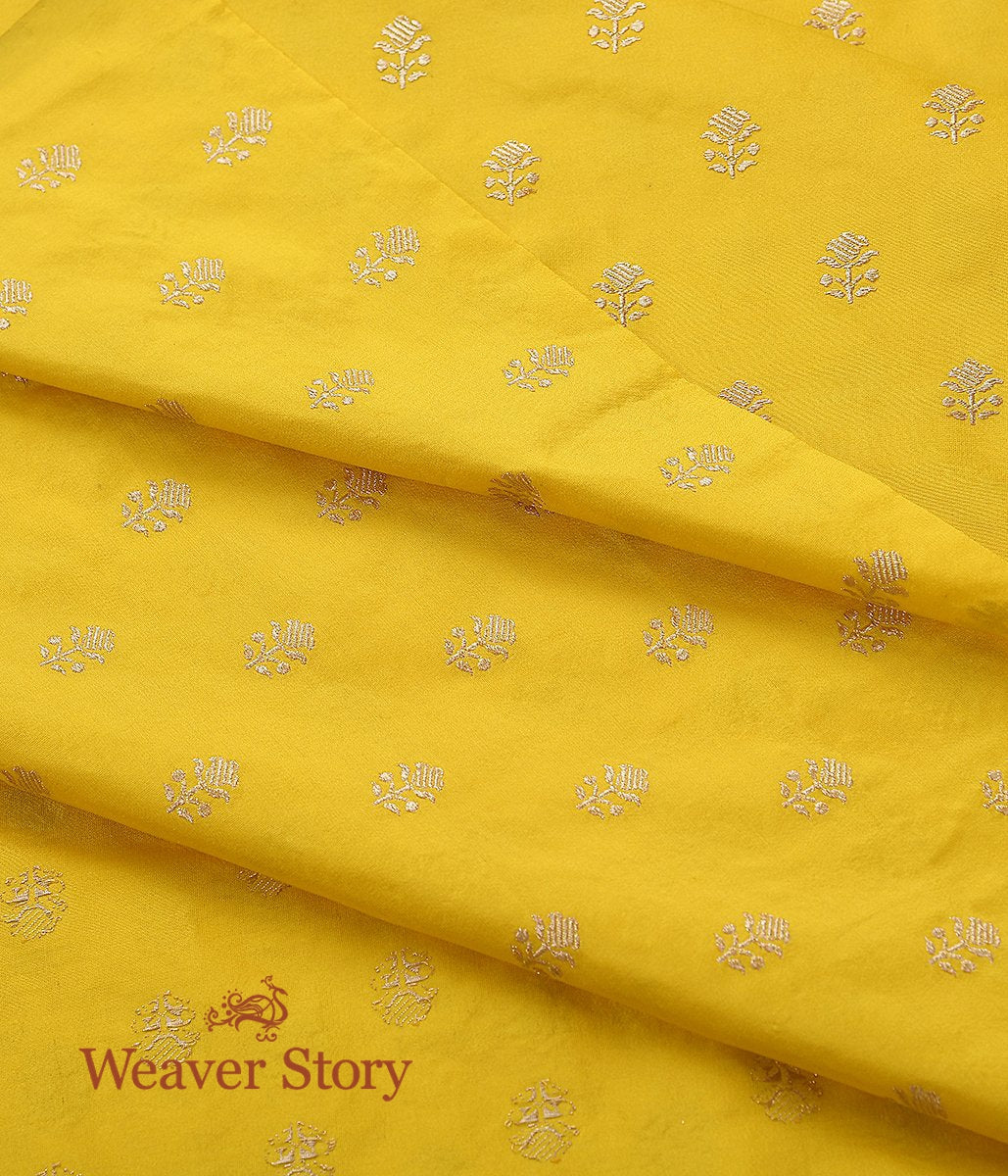 Handwoven Yellow Leaf Booti Fabric in Katan Silk