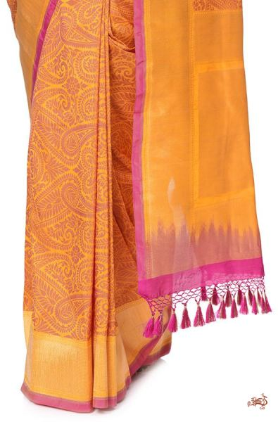 Mustard and red jamawar tanchoi Saree with paisley weave - WeaverStory - 1