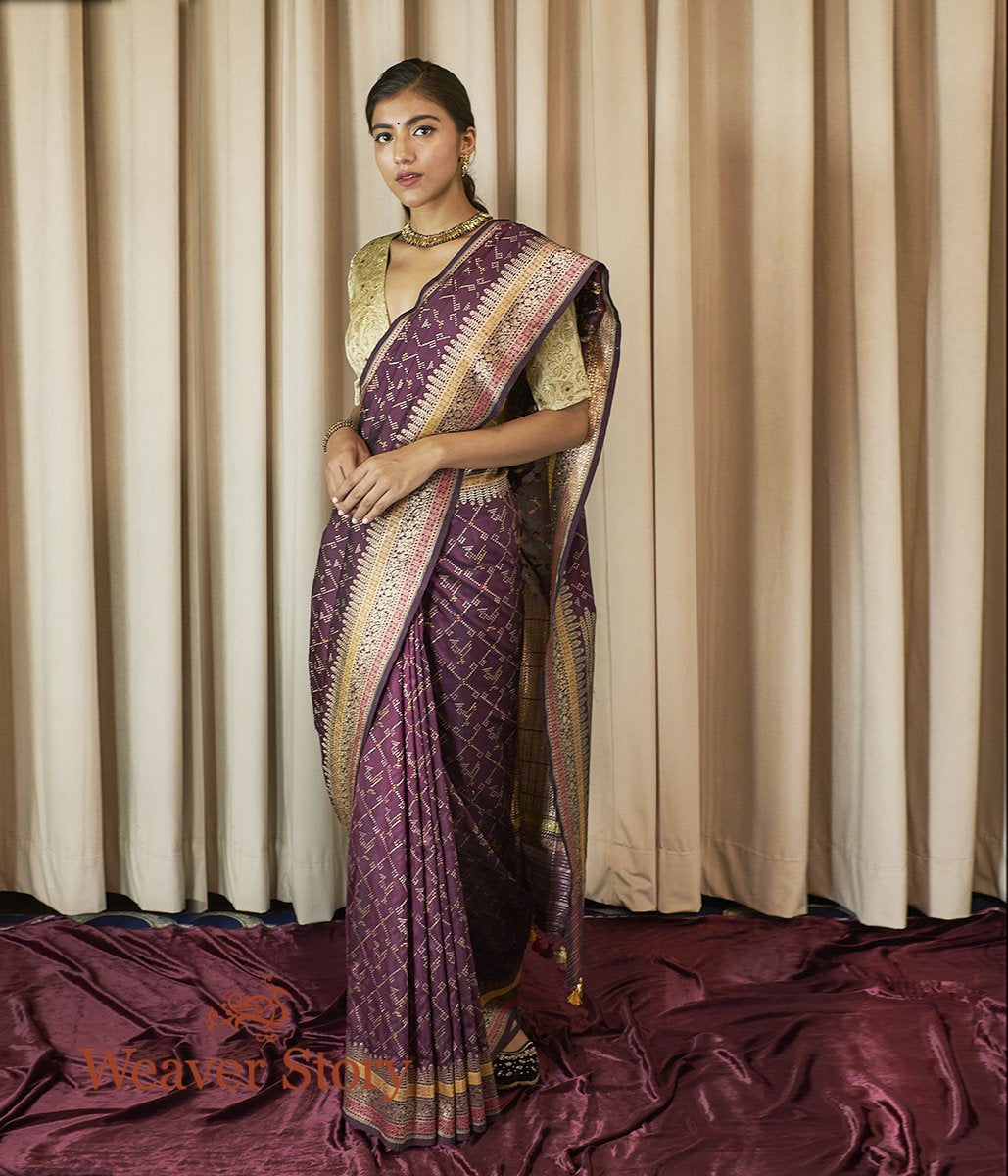 Handwoven Wine Meenakari Patola Saree with Kadhwa Floral Border