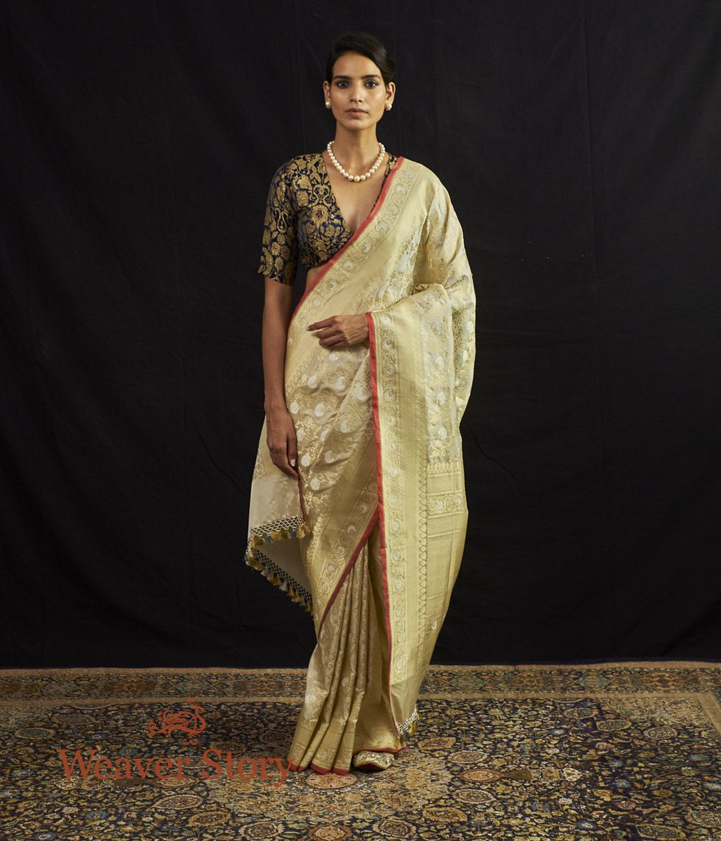 Handwoven Offwhite Sona Rupa Kadhwa Jangla with Red Selvedge