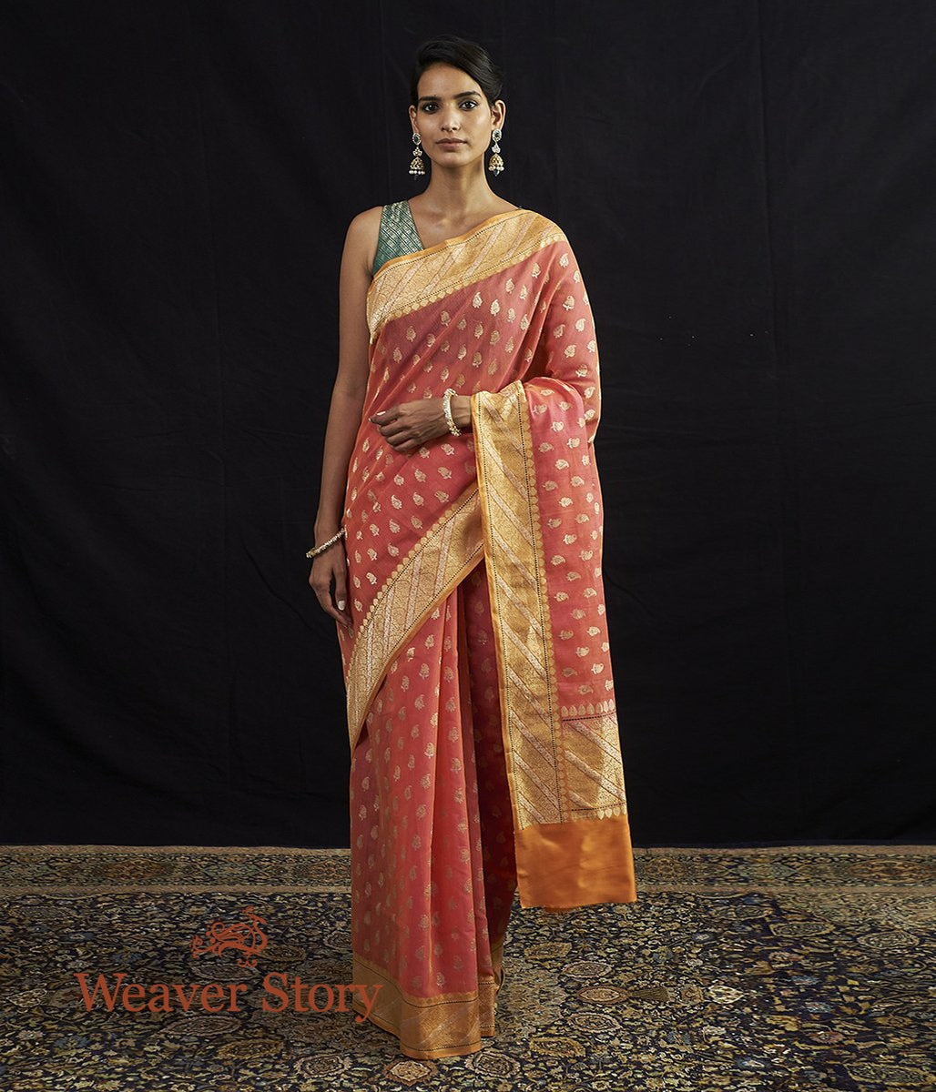Handwoven Banarasi Jangla in Orange and Pink Dual Tone with Small Paisleys