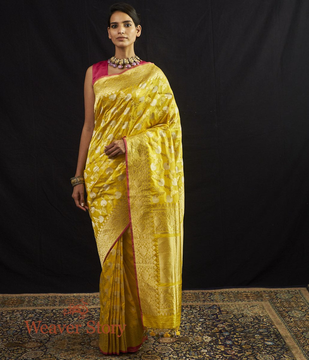 Handwoven Yellow Sona Rupa Kadhwa Jangla with Pink Selvedge