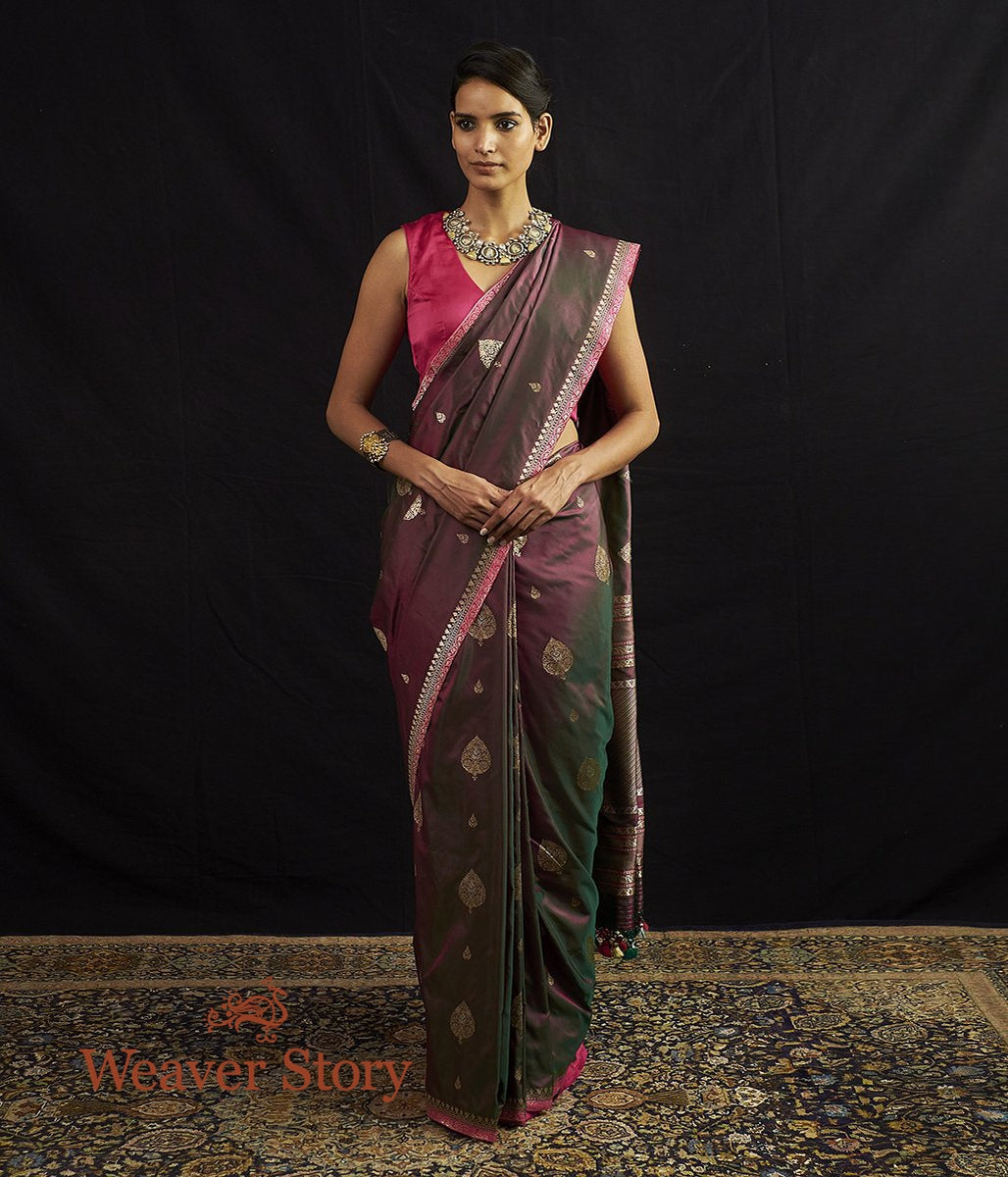 Handwoven Green and Pink Kadhwa Boota Saree with Narrow Border