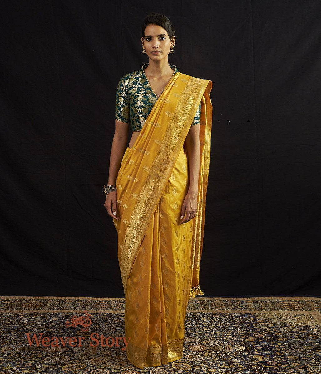 Handwoven Mustard and Gold Kadhwa Booti Banarasi Saree