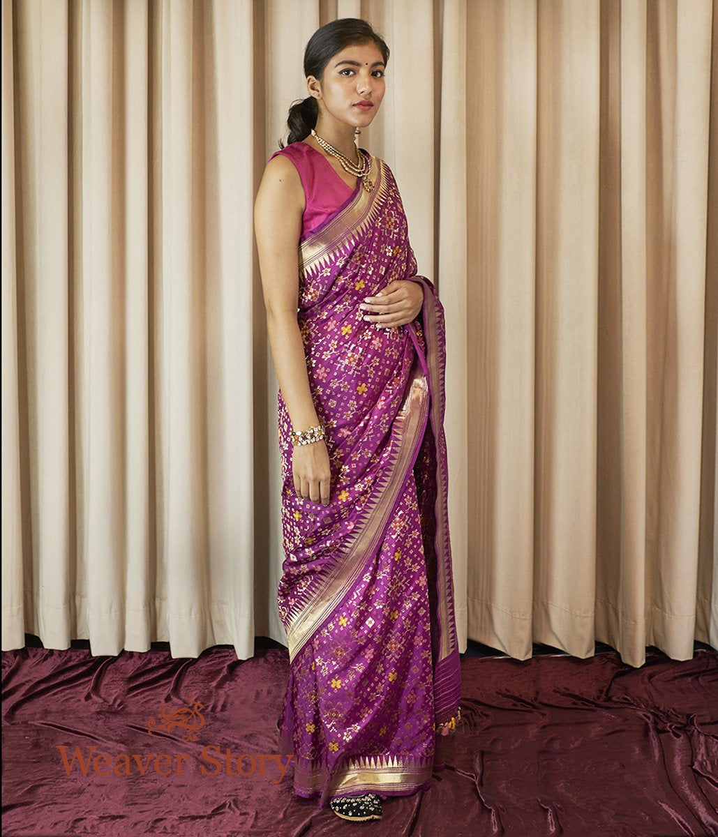 Handwoven Purple Meenakari Banarasi Patola Saree with Temple Border