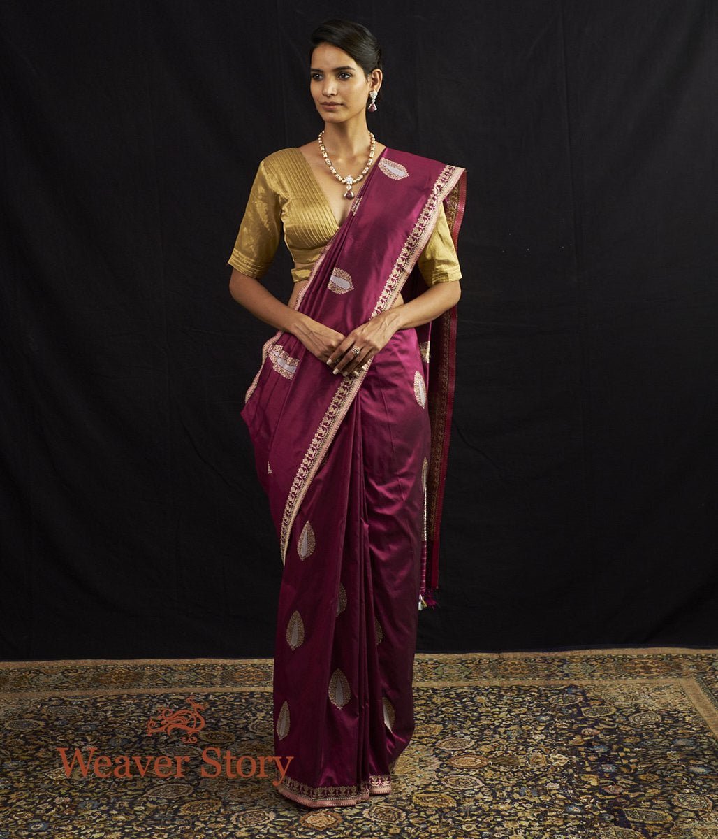 Handwoven Purple Banarasi Saree with Meenakari Boota