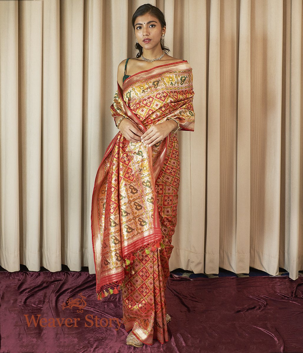 Handwoven Red and Yellow Meenakari Patola Saree with Parrots on the Border