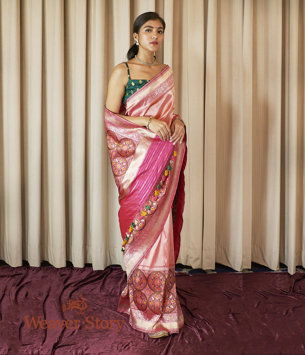Pink Zari Weave Meenakari Patola Saree with Heavy Border