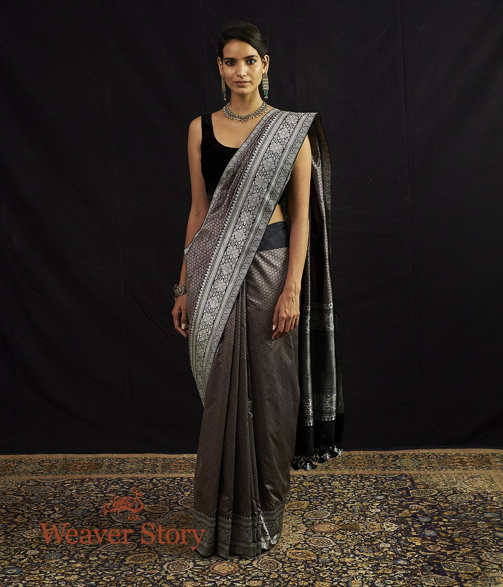 Handwoven Black and Grey Tanchoi with Kadhwa Border